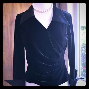 Black velvet & satin top by JS Collections